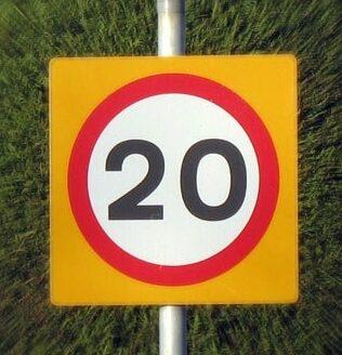 límites de velocidad 20 km